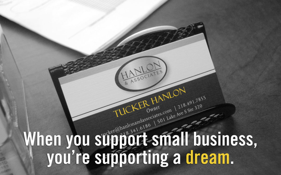 Hanlon and Associates Business card support small business
