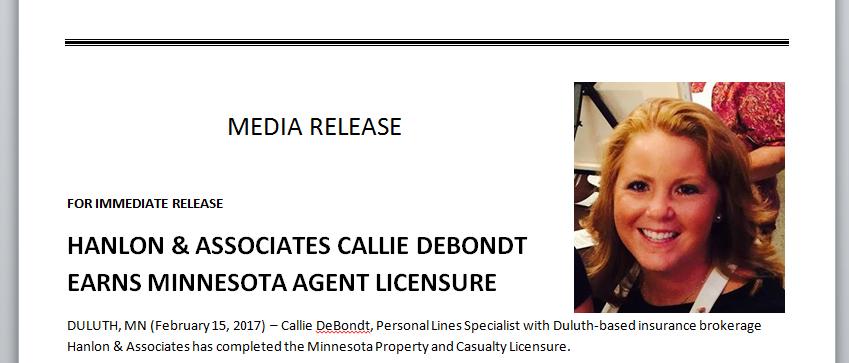 Callie DeBondt Earns Minnesota Agent Licensure