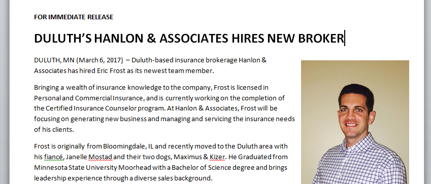 Eric Frost new broker welcome Hanlon and Associates